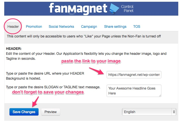 fanmagnet header tab configuration
