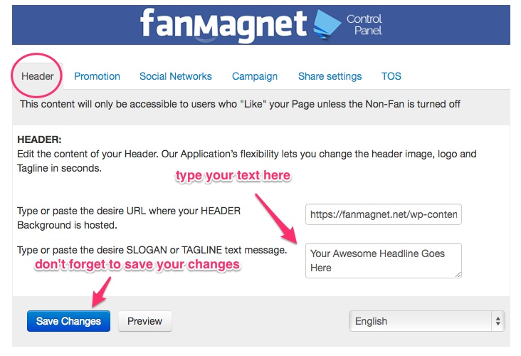 Fanmagnet Header Configuration