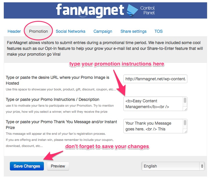 Fanmagnet Promotion tab