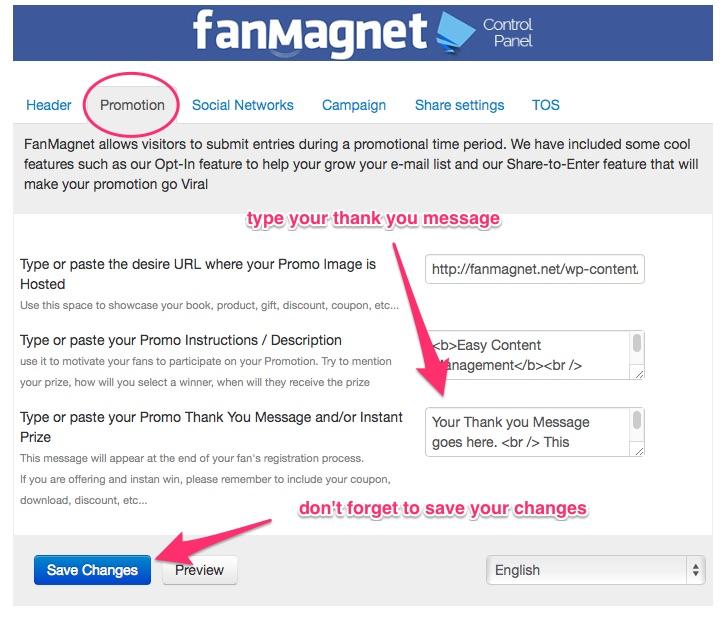 Fanmagnet promotion tab configuration