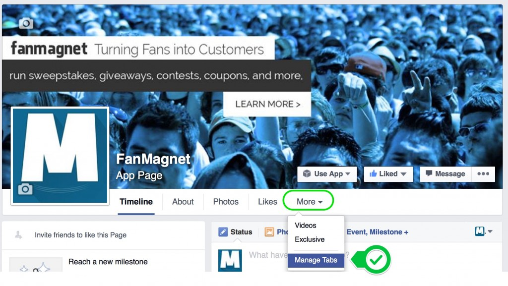 Step 1.  Click More below your Page's cover photo and Select Manage Tabs