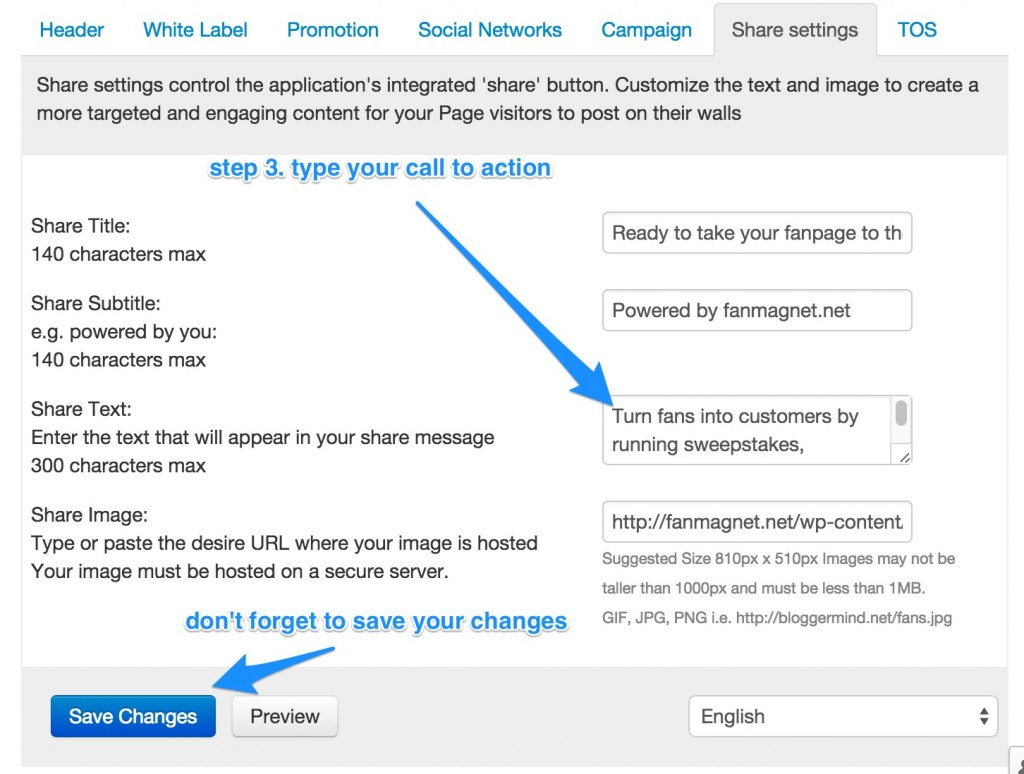 Share settings control the application's integrated 'share' button. Customize the text and image to create a more targeted and engaging content for your Page visitors to post on their walls
