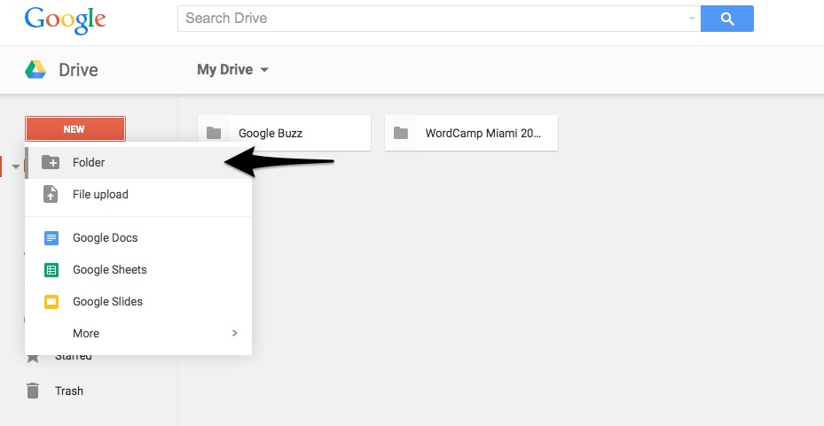 Step 1.  Sign in to your GoogleDrive account> click on NEW on the left side of the page and the click on FOLDER