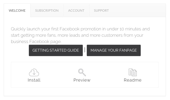 Welcome tab  Site-Wide notification messages, Current promos, cool ideas for Facebook apps and social media marketing Campaigns based on goals, tips for how to promote your Campaigns and suggestions for what to do with the data you collect.